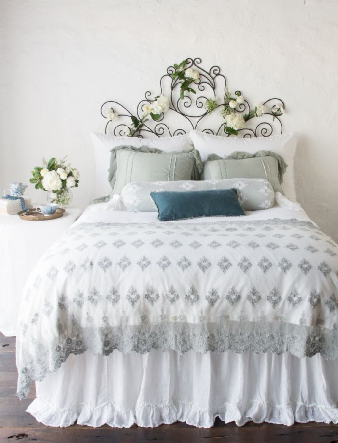 Olivia, Valentina, Linen Whisper in White and Mineral Children's - Adult Bedding by Bella Notte Linens