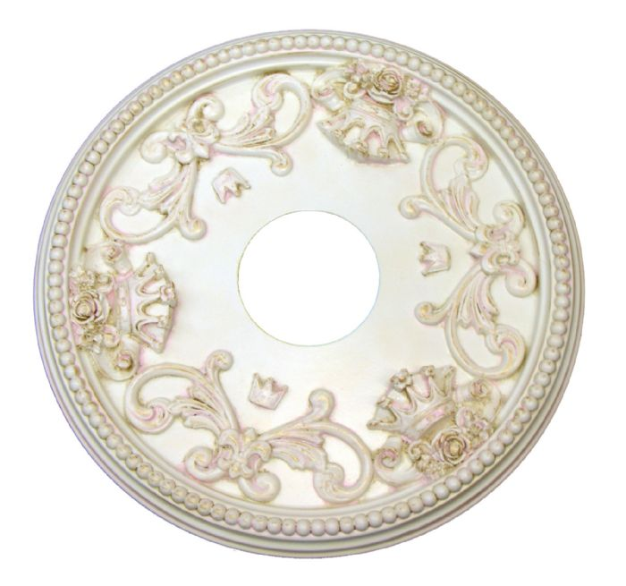 Shabby Rose and Crown Ceiling Medallion in Custom Cream,Pink,Gold by I Lite 4 U