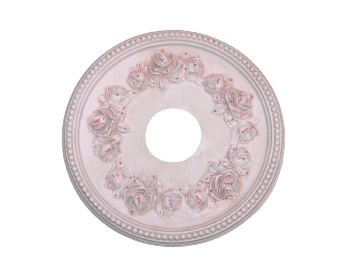 Shabby Rose Ceiling Medallion in Antique Pink by I Lite 4 U