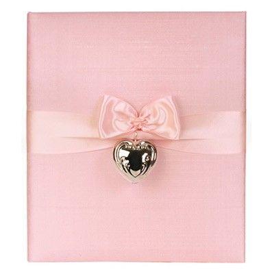 Silver Heart Rattle Pink Baby Book by Jan Sevadjian Designs