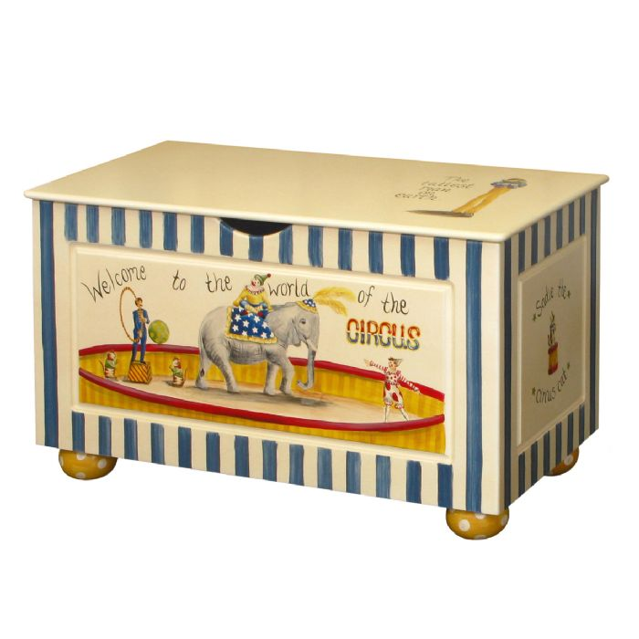 Toy Chest with Bun Foot in Vintage Circus by AFK Art For Kids