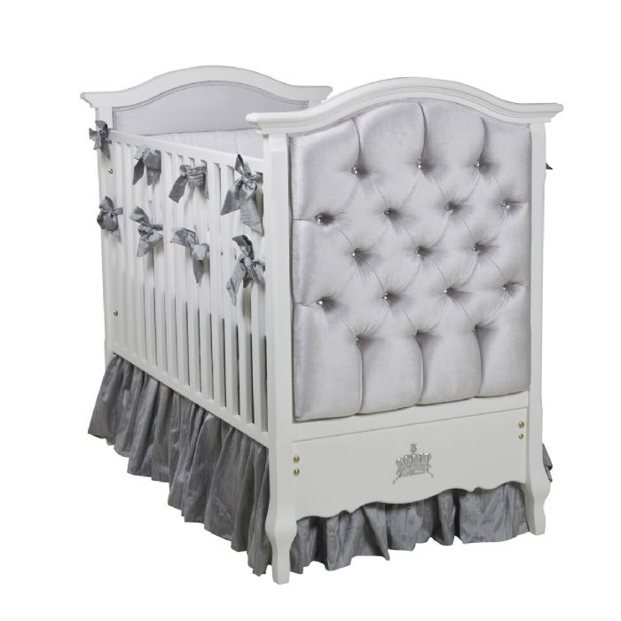 Bordeaux French Panel Upholstered Crib in Majestic Silver by AFK Art For Kids